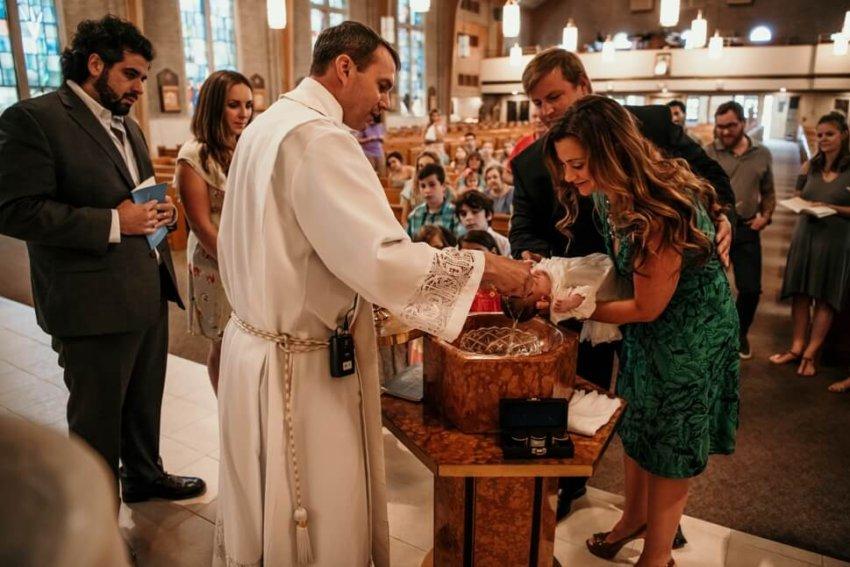 baptism baby water godparents - St  Philomena Catholic Church